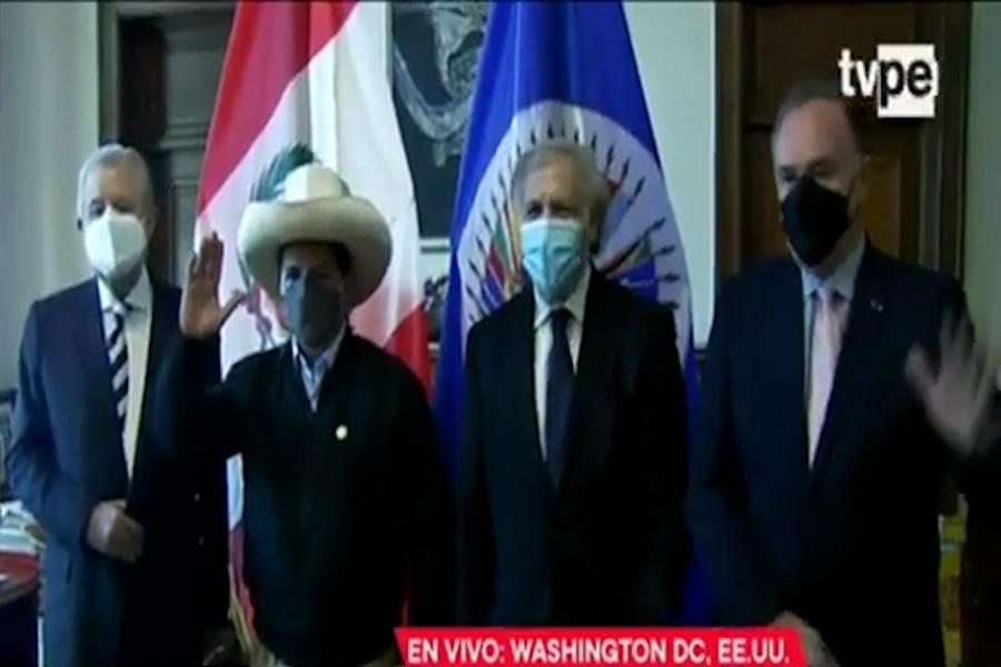 Presidente Castillo recibe saludo protocolar del Secretario General de la OEA