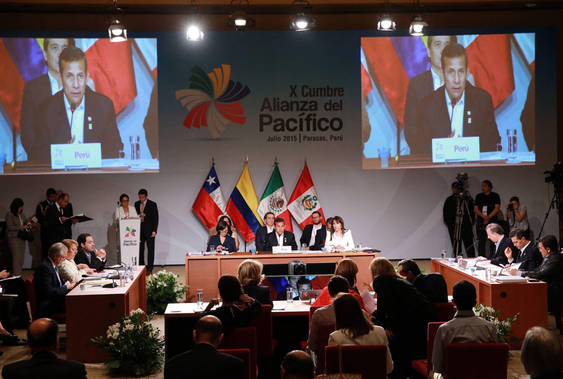 Inicio de la sesión plenaria de la X Cumbre de la Alianza del Pacífico que se desarrolla en la ciudad de Paracas. Foto: Prensa Presidencia